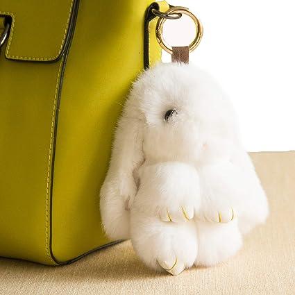 YISEVEN Stuffed Bunny Keychain Toy - Soft Fuzzy Large Stitch Plush Rabbit Fur Key Chain - Cute Fluffy Bunnies Floppy Furry Animal Easter Basket ...