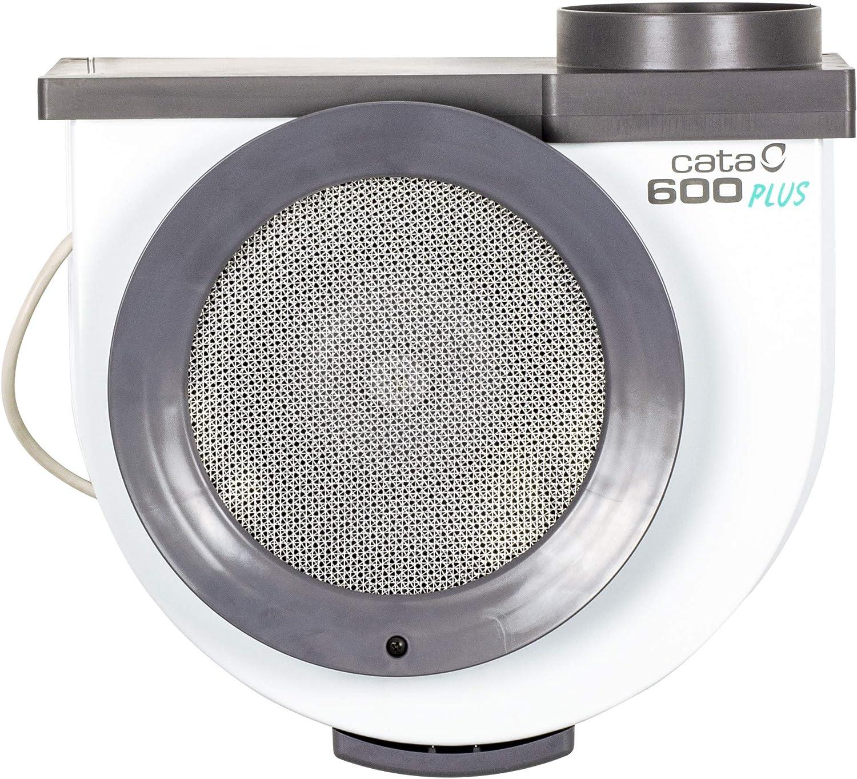 Cata 600 Plus 2 Vel Extractor centrífugo de Cocina, 105 W, 52 Decibeles, Metal, De plástico, Blanco y Gris