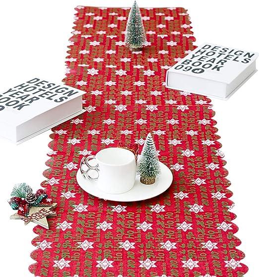 Jueshanzj - Bordado Navidad Camino de Mesa Letra Snowflake 35 ...