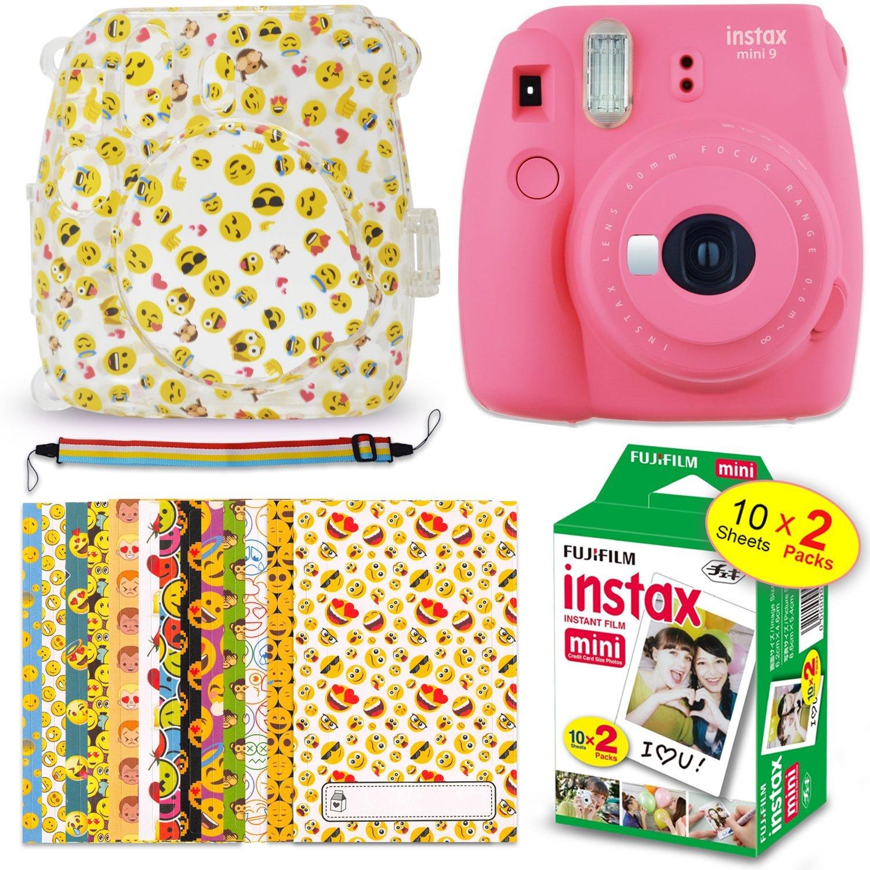 FujiFilm Instax Mini 9 Instant Camera FLAMINGO PINK + Fuji Instax Film (20 Sheets) + EMOJI Print Hard Clear Case + 20 EMOJI Sticker Frames + Rainbow Neck/Shoulder Strap