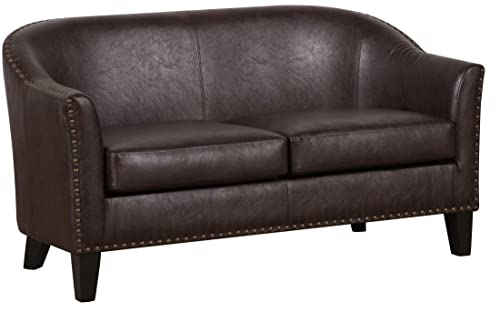 Pulaski Brown Faux Leather Upholstered Settee Accent Chair