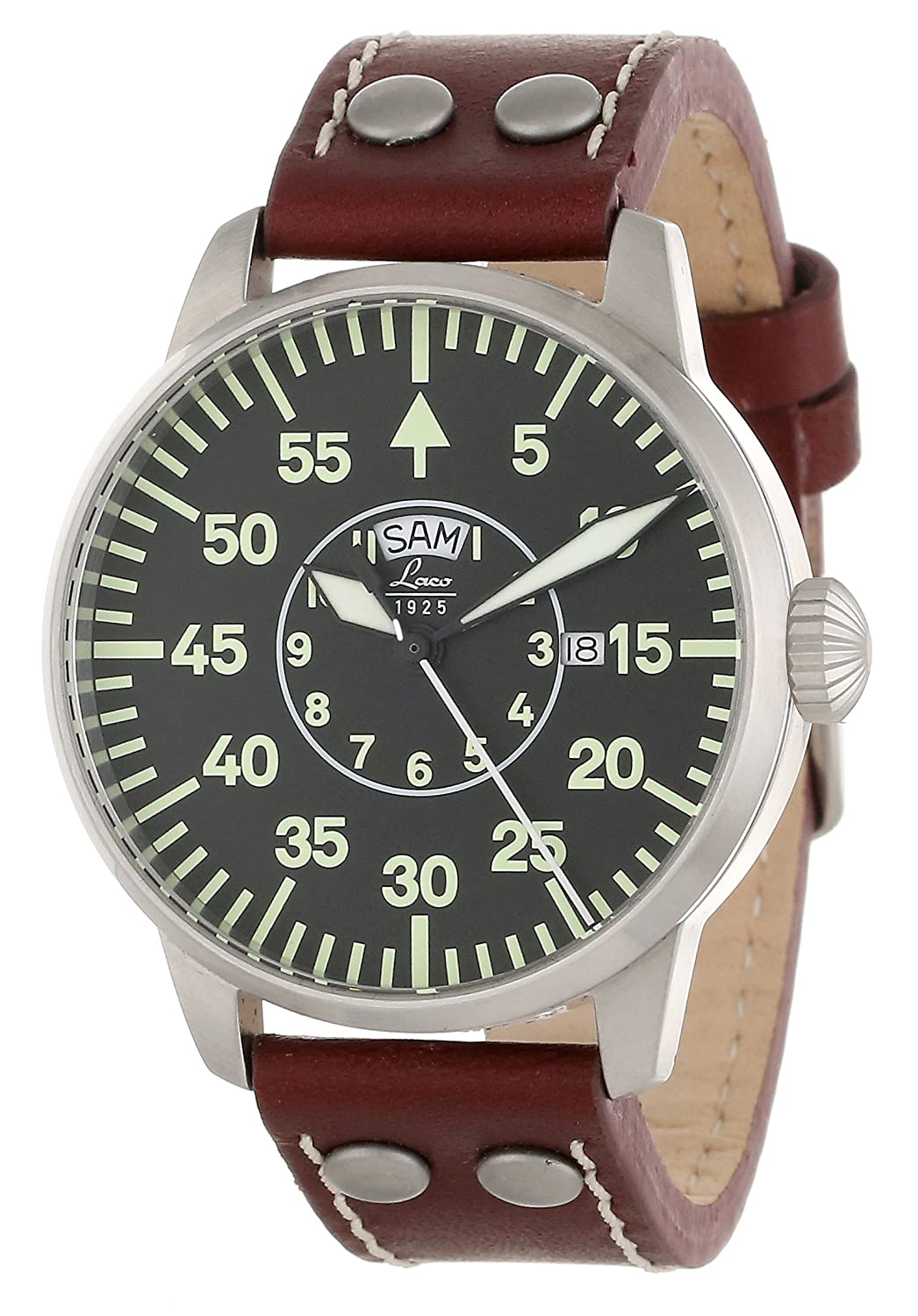 product zoom military waterresist davis watch pilot l chronograph dial s leather watches strap aviator mens date black men brown