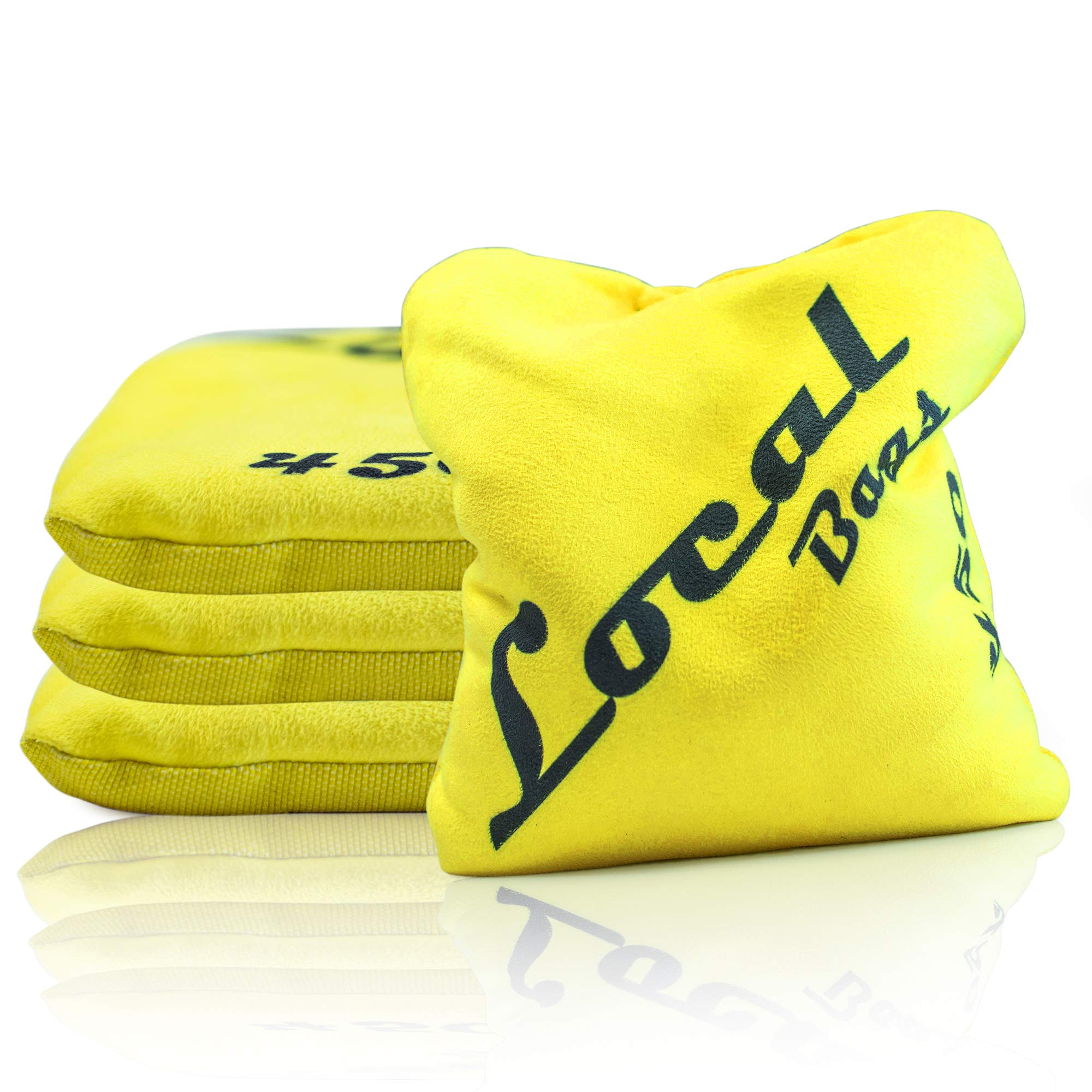 Local Bags Cornhole - 450's Series - Set of 4 Bags- ACL Approved Resin Filled - Double Sided - Sticky Side/Slick Side Made in USA (Yellow) by Local Bags