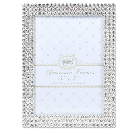 27f6318d4ee Amazon.com - Lawrence Frames 5x7 Juliet Silver Metal Crystals Picture Frame  -