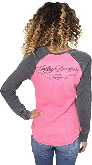 Genuine Harley Davidson Women/'s Winged H-D Henley Long Sleeve Top