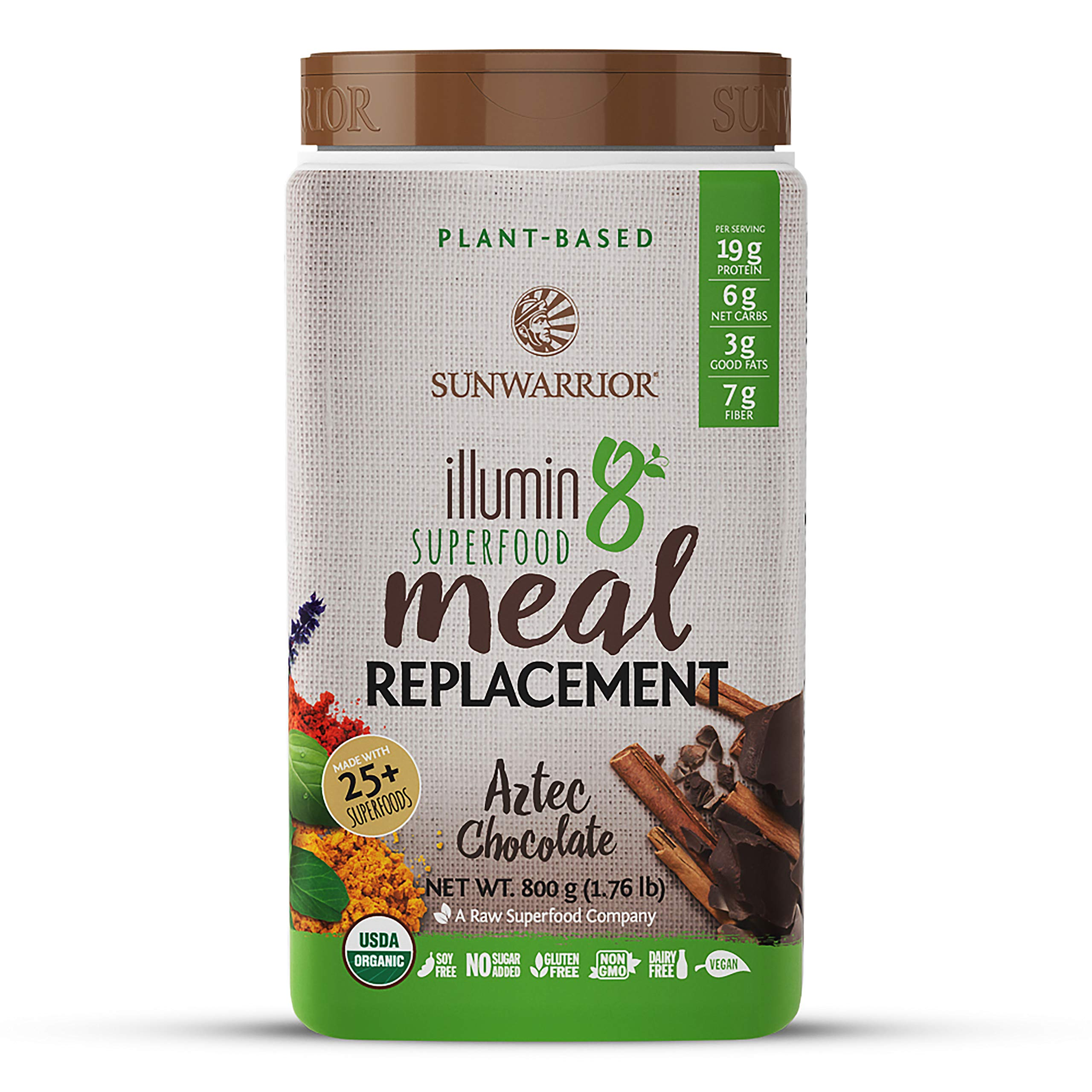 Sunwarrior - Illumin8 Plant-Based Superfood Meal Replacement, Organic, Vegan, Non-GMO (Aztec Chocolate, 20 Servings) by Sunwarrior