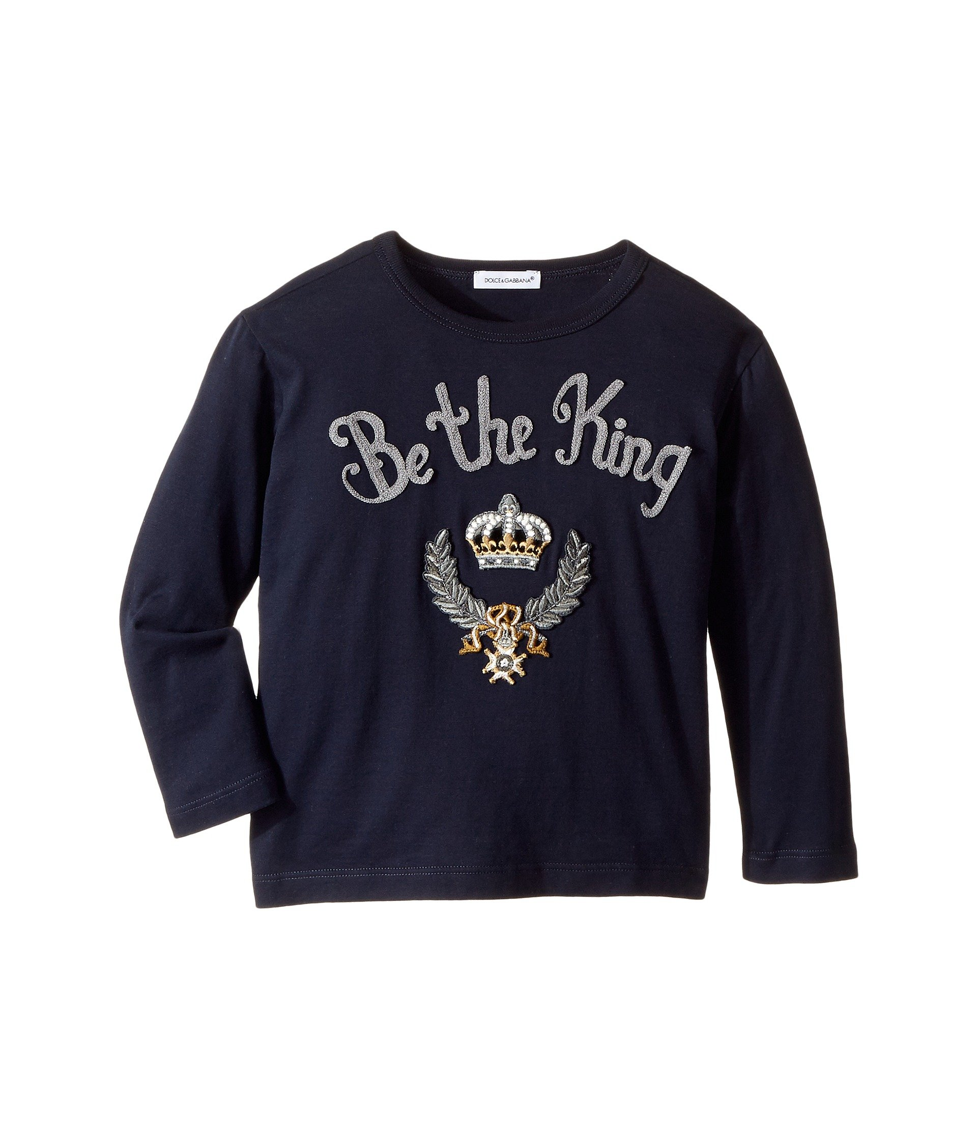 Dolce & Gabbana Kids  Baby Boy's Be The King T-Shirt (Toddler/Little Kids) Blue T-Shirt by Dolce & Gabbana