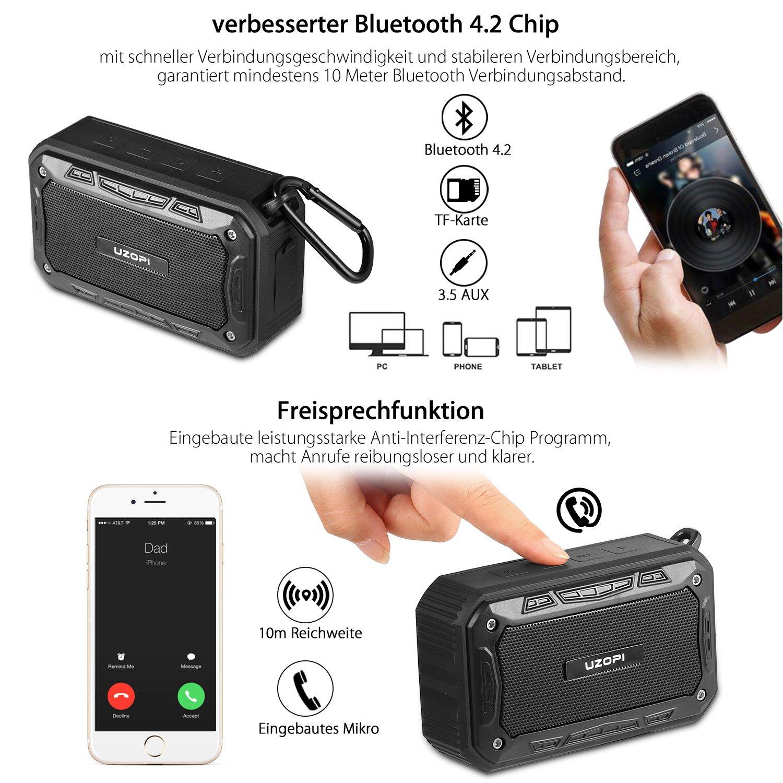Bluetooth Lautsprecher - Wasserdicht Badezimmer Outdoor Fahrrad Lautsprecher für Handy, Wireless IP67 10W 2200mAh Bluetooth Speaker mit Fahrradhalter/Aux / TF/Mikrofon