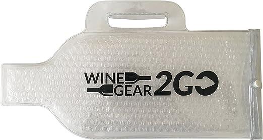 Reutilizable para botella de vino piel Protector burbuja bolsa de viaje con asa gran regalo accesorios piel exterior resistente a prueba de fugas ...