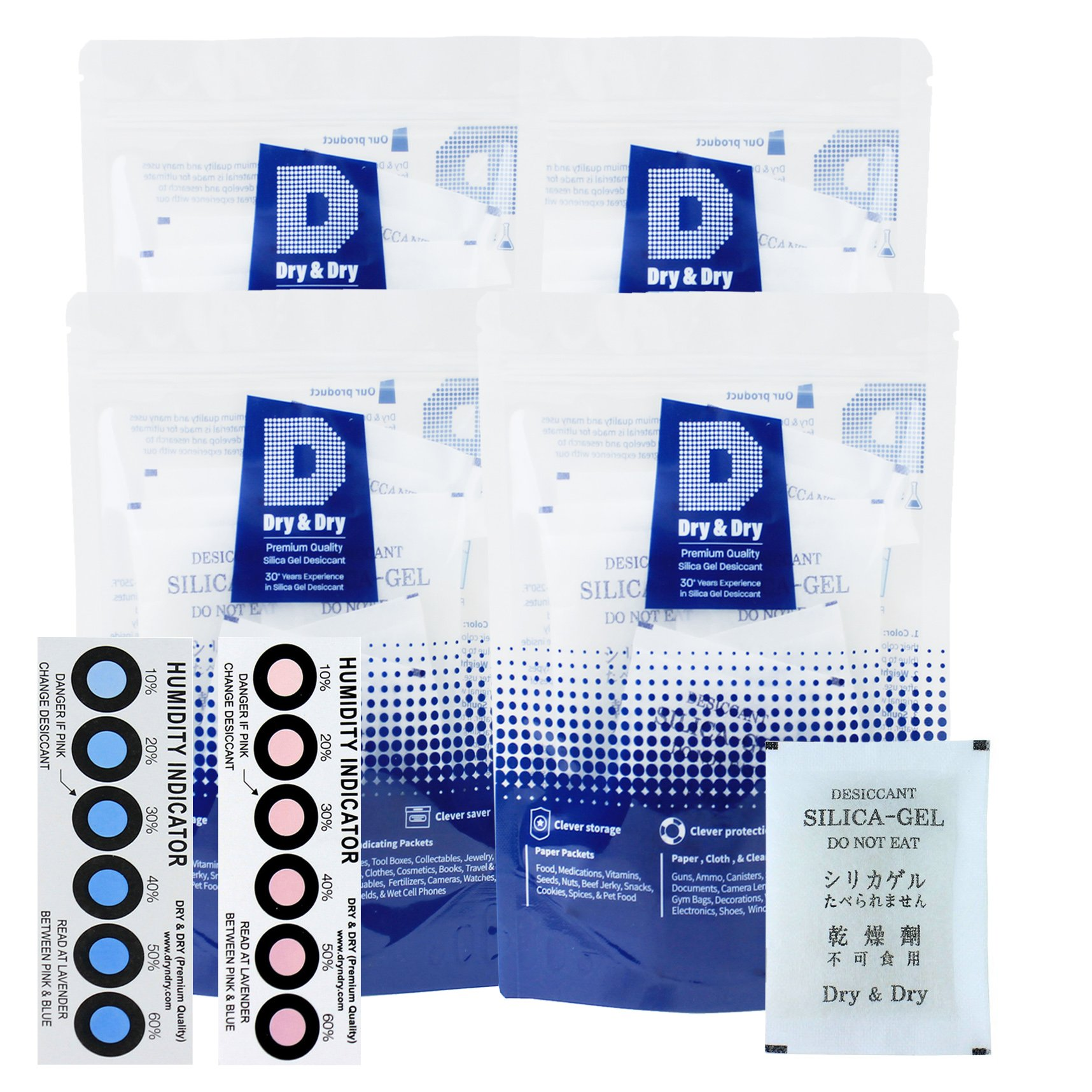 Dry & Dry 20 Gram [100 Packets] Premium Pure & Safe Silica Gel Packets Desiccant Dehumidifier - Rechargeable Fabric Silica Packets for Moisture