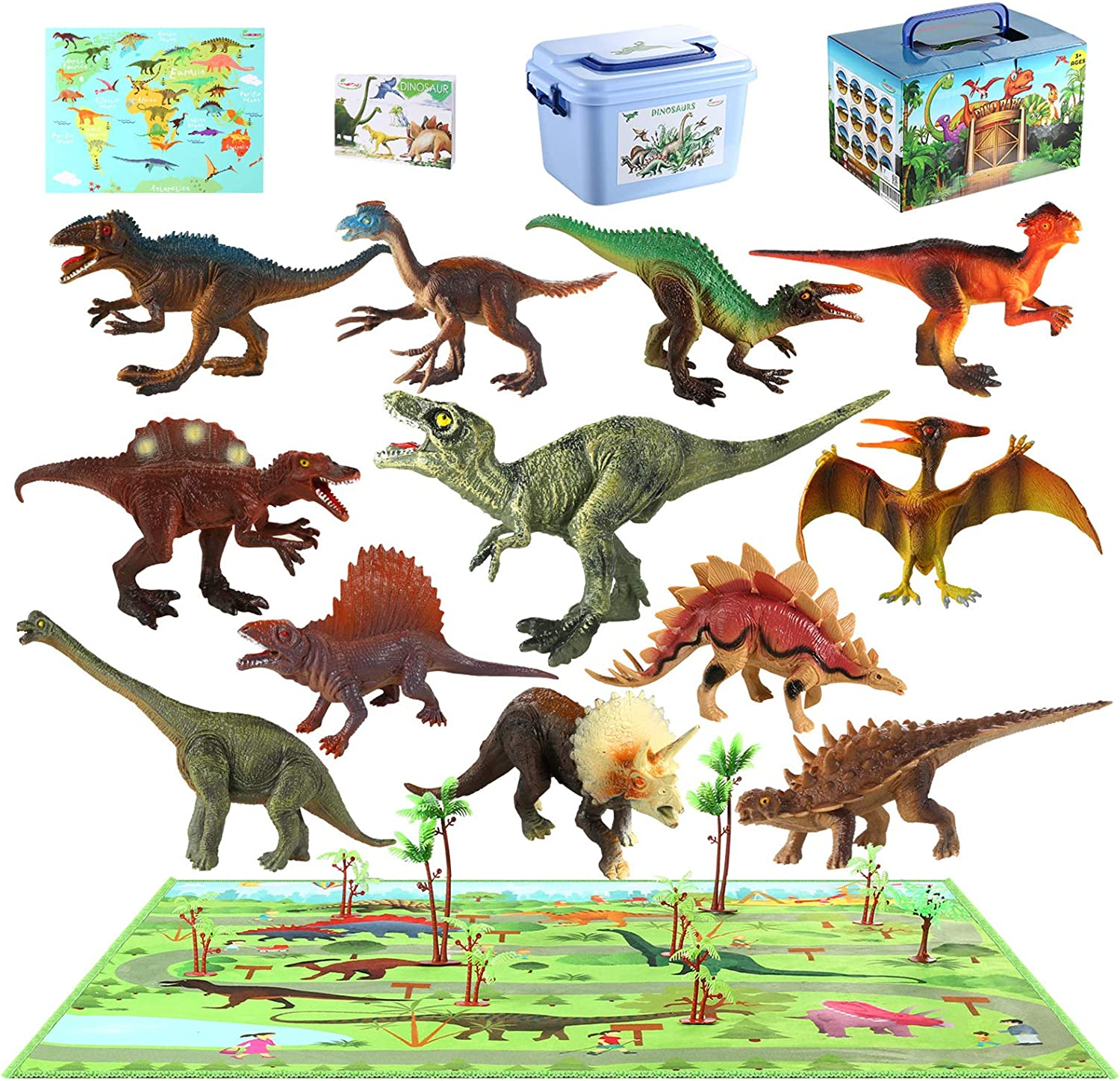 MEIGO Dinosaur Toys - Toddlers 7'' Educational Realistic Dinosaur Figures w/ 31.5''x31.5'' Activity Play Mat | Dino Book & Map | Preschool Learning Gift for Kids 3 4 5 6 Year Old Boys Girls (12pcs)