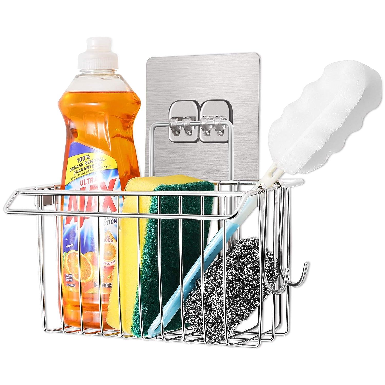 FaayFian 3-in-1 Kitchen Sponge Holder, Stainless Steel Bathroom Shelf Storage Organizer, Soap Scrubbers Holder + Dish Cloth Hanger, Bathroom Shower Caddy, Kitchen Sink Caddy