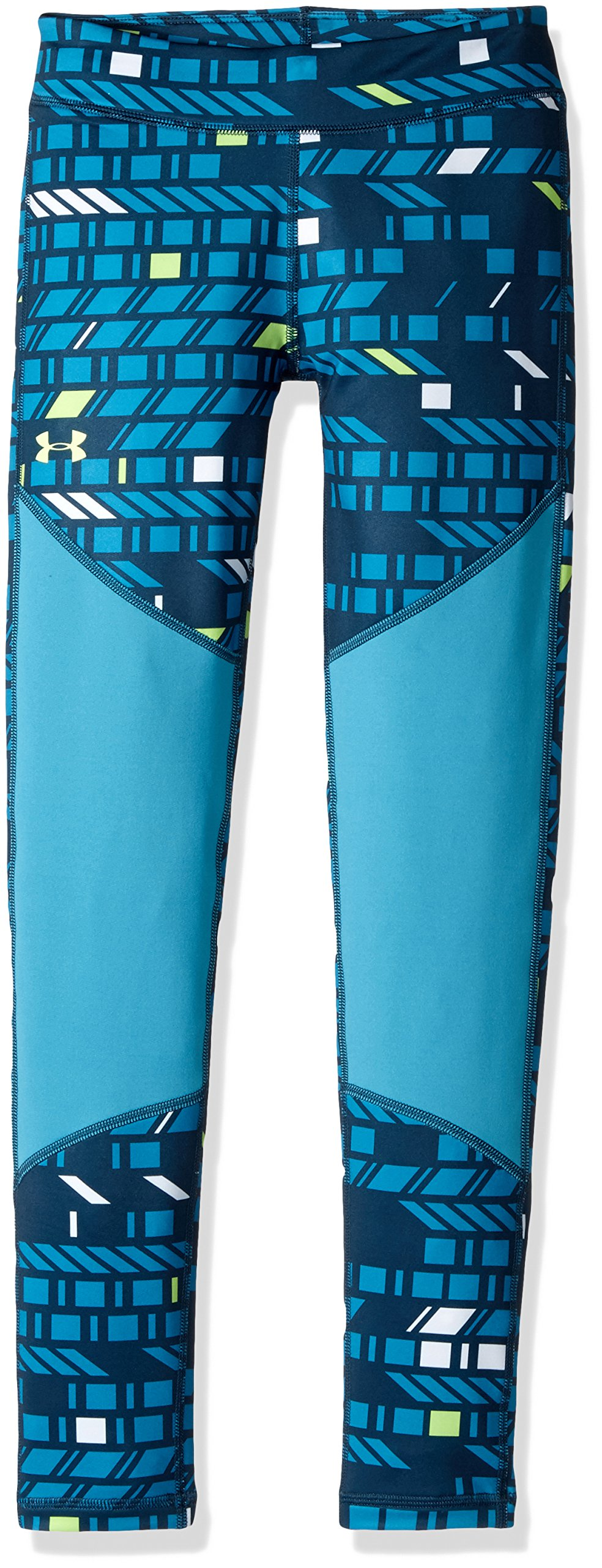 Under Armour Girls' ColdGear Novelty Leggings,True Ink (918)/Quirky Lime, Youth X-Large by Under Armour
