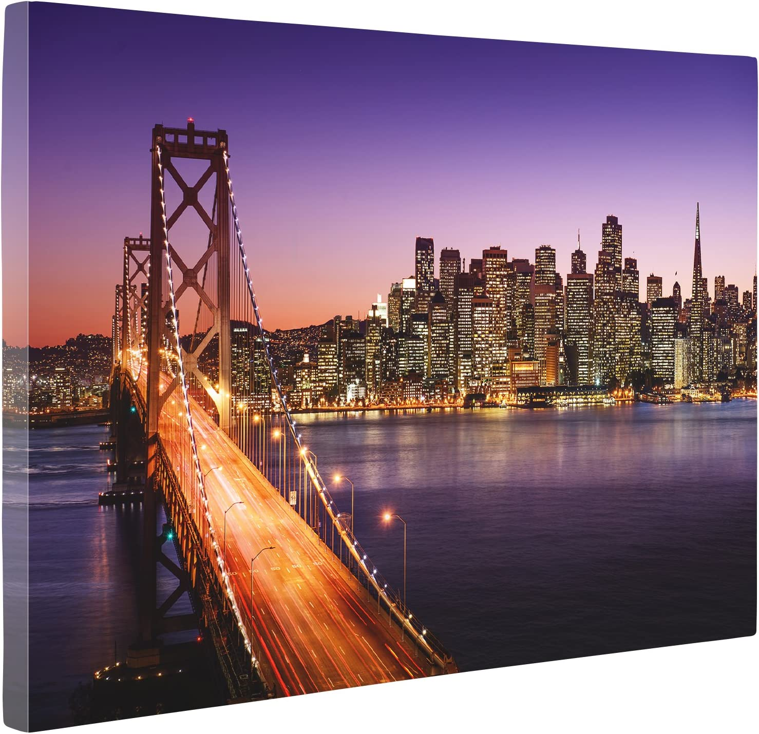 """Niwo Art (TM - San Francisco Cityscape Picture On Canvas - Giclee Wall Art for Home Decor, Gallery Wrapped, Stretched and Framed Ready to Hang (16""""x12""""x0.75"""")"""