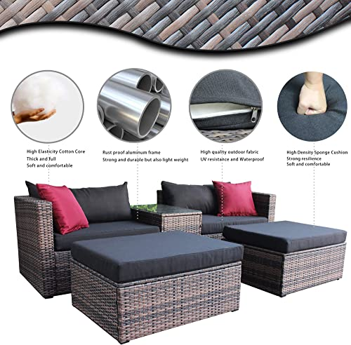 CHINNLUU 5 Pieces Outdoor Furniture Patio Rattan Loveseat Set All Weather Sectional PE Wicker Sofa Conversation Set