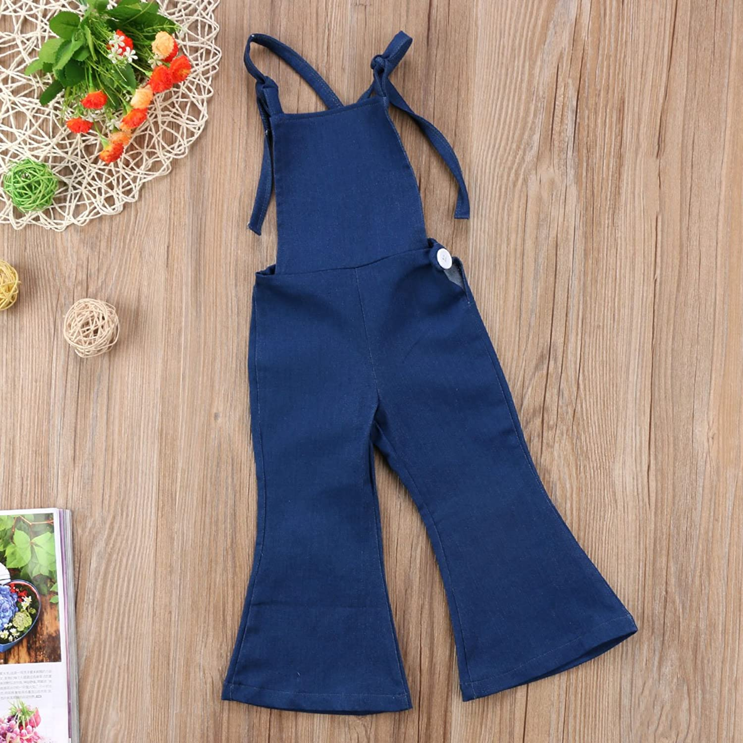 1930s Childrens Fashion: Girls, Boys, Toddler, Baby Costumes 2T - 6x Pudcoco Baby Girls Little Kids Suspender Overall Flared Denim Jeans Jumpsuit Bell Elastic Blue Pants $11.99 AT vintagedancer.com