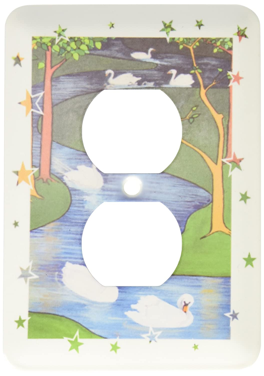 3dRose lsp_28183_6 Christmas Seven Swans A Swimming Outlet Cover Multi-Color