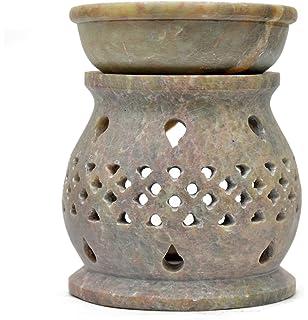 Duftlampe 11cm Tropfen Ziergitter Speckstein Duftstövchen 2 Teilig Windlicht