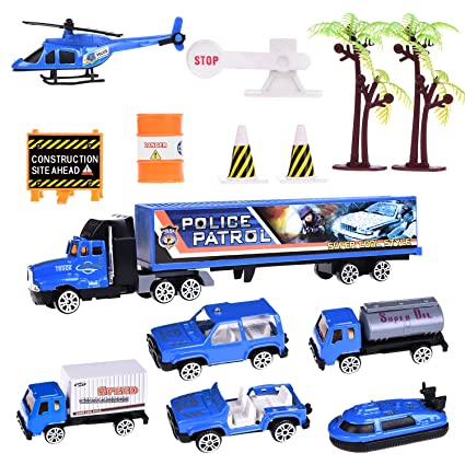 Buy Police Diecast Patrol Matchbox Cars Colorful Racer Hot Tow Truck - Car show goody bag stuffers