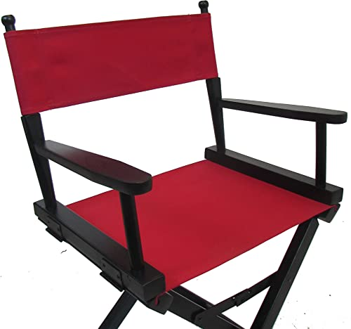 Personalized Imprinted Gold Medal Contemporary 18 Table Height Black Frame Directors Chair – Red