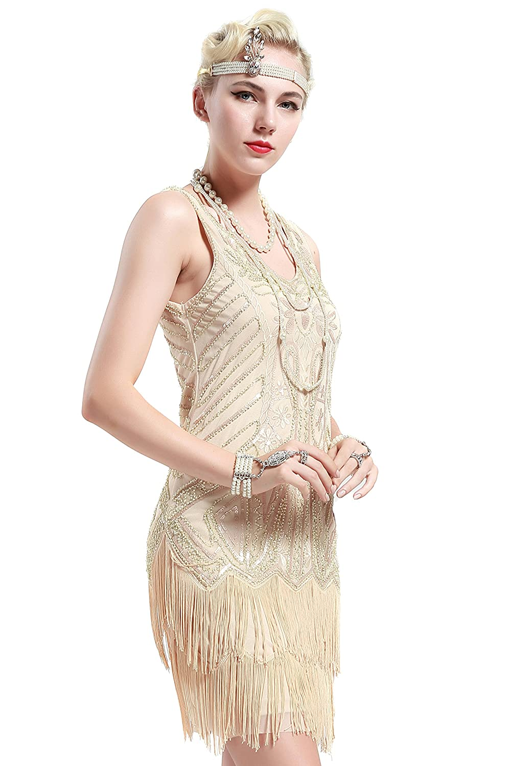 1920s Evening Dresses & Formal Gowns Flapper Dresses 1920s V Neck Beaded Fringed Great Gatsby Dress $28.99 AT vintagedancer.com
