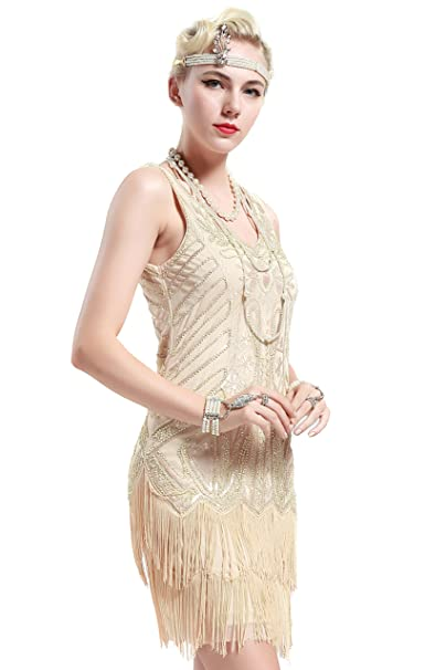 BABEYOND Flapper Vestidos Mujer Estilo 1920 Vestido Vintage con Cuello en V con Flecos de Cuentas
