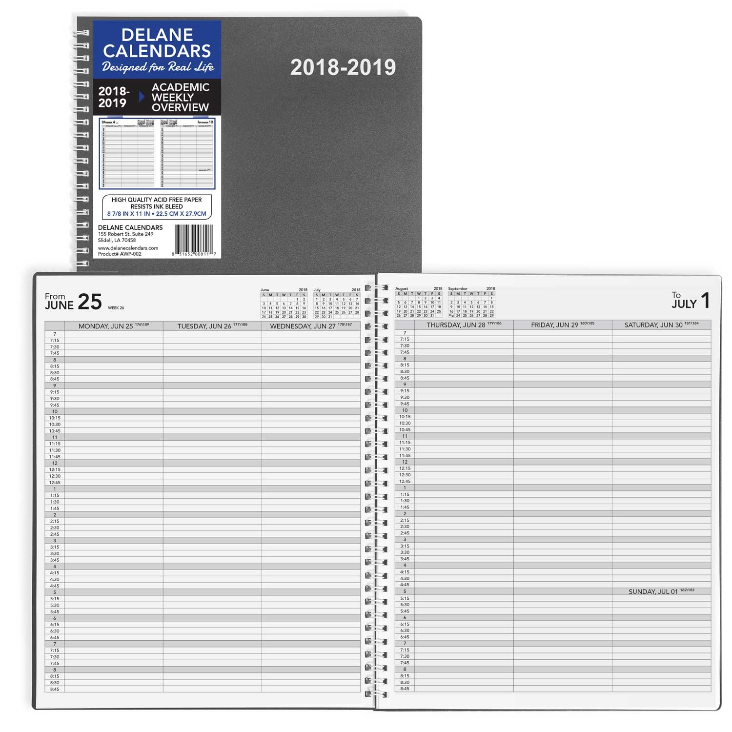 Academic Weekly Planner 2018-2019 Appointment Book, 8.5 x 11 inches, Premium Paper, Daily Planner Hourly, Grey