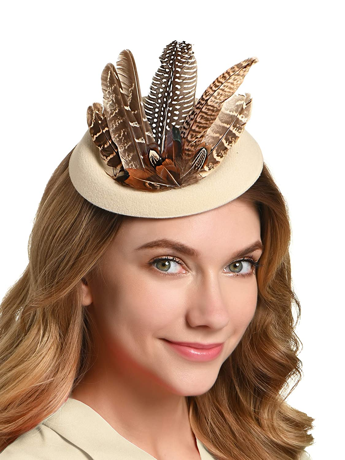 1950s Women's Hat Styles & History Zivyes Fascinator Hats for Women Pillbox Hat Pheasant Feather Race Hair Clip Headband $11.99 AT vintagedancer.com