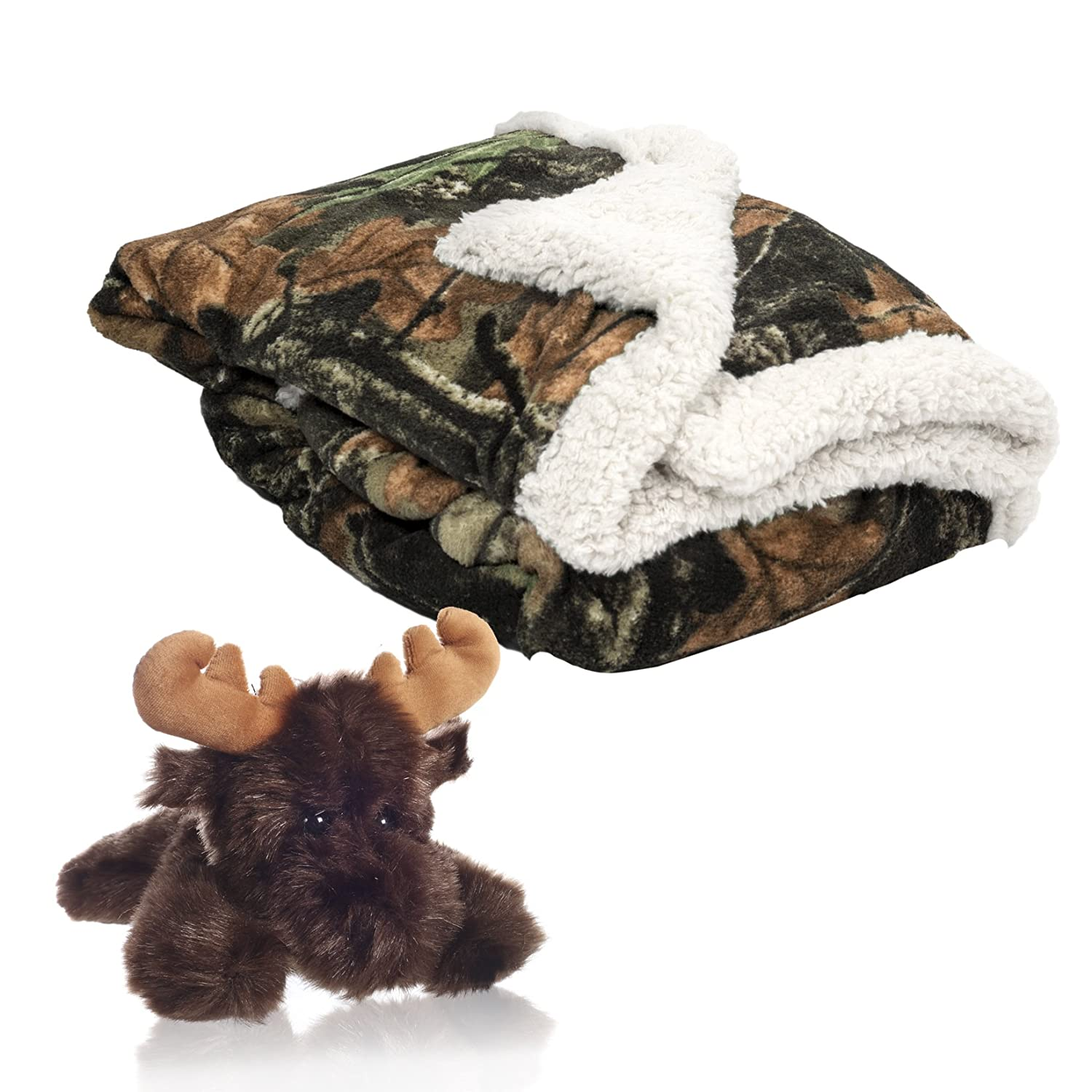 Baby Infant Camo and White Accent Soft Sherpa and Plushed Lined Coral Fleece Gift Blanket and Brown Bear Set Gift Jock 1975+bear