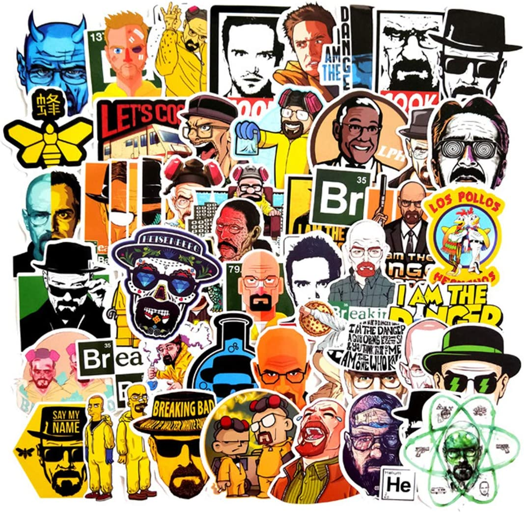Decal Stickers 50 PCS Breaking Bad Laptop Sticker Waterproof Vinyl Stickers Car Sticker Motorcycle Bicycle Luggage Decal Graffiti Patches Skateboard Sticker (Breaking Bad)