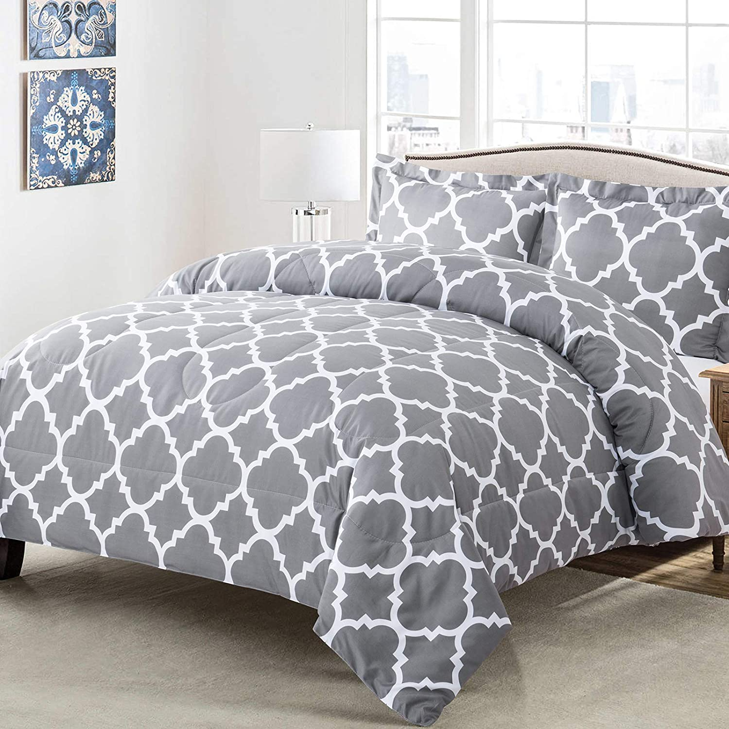 Shatex 3-Piece Microfiber Comforter Set with Pillowcase Simple Style Breathable