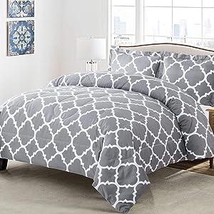 Shatex Comforter Queen Set Grey 3 Pieces Bedding Comforter Sets Queen Size– Ultra Soft 100% Microfiber Polyester –Queen Comforter with 2 Pillow Shams