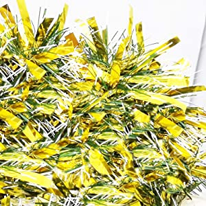 LeleCAT 19 Foot Christmas Tinsel Garland for Christmas Decorations Holiday Decor for Outdoor or Indoor Use Premium Quality Home Garden Artificial Tinsel Garland, or Wedding Party Decorations,Golden