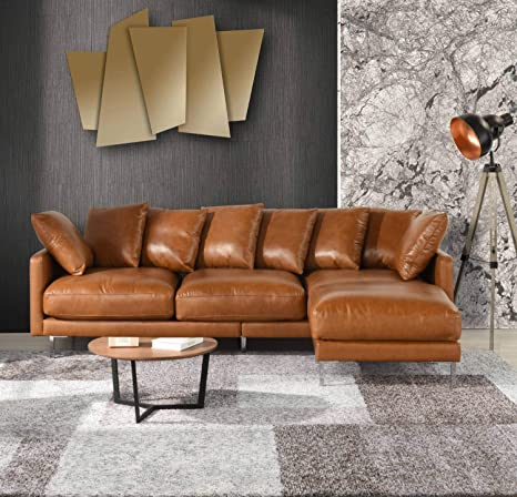 Pleasing Amazon Com Brown Leather Sectional Sofa Couch W Reversible Forskolin Free Trial Chair Design Images Forskolin Free Trialorg