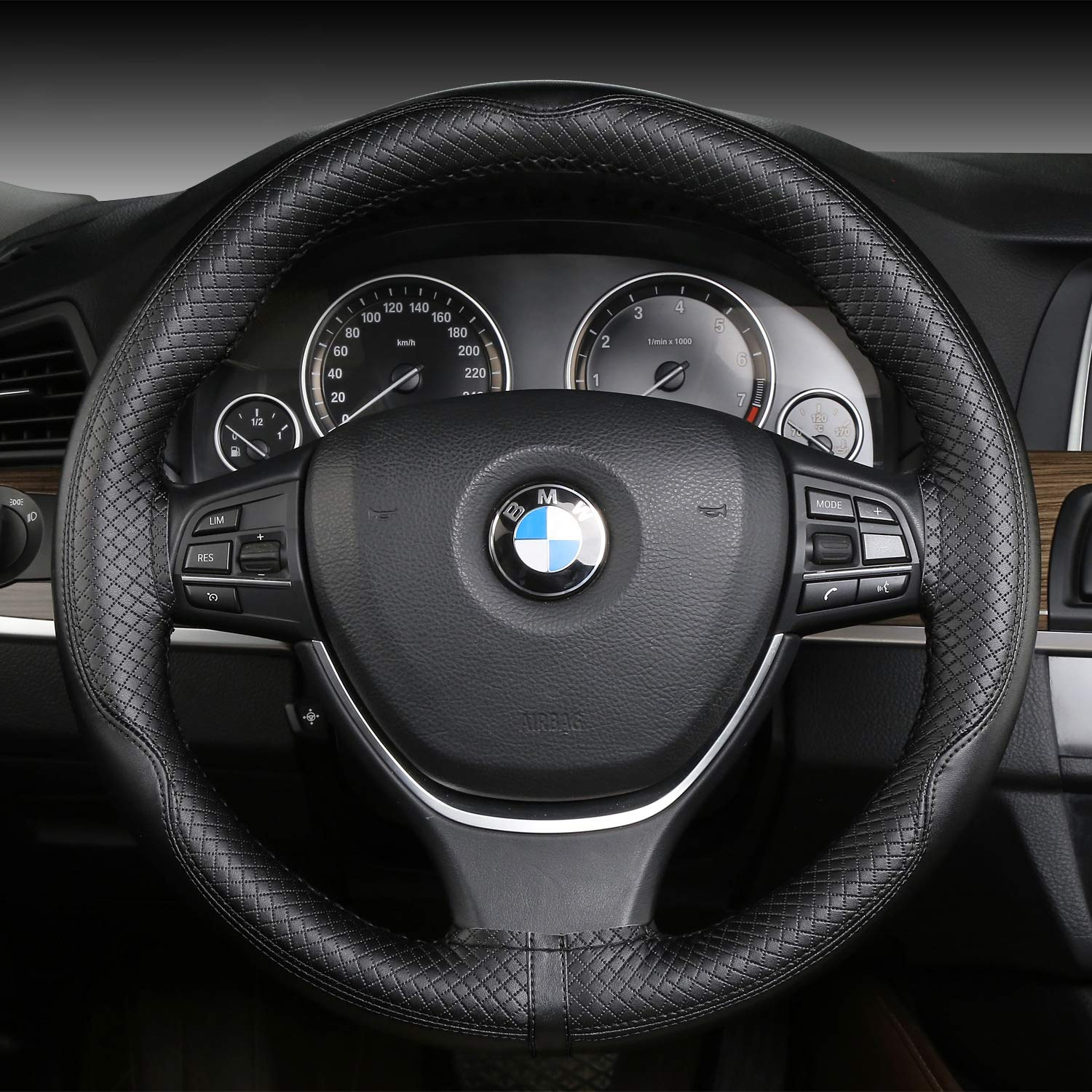 Amazon.com: Car steering wheel cover, hand-stitched steering wheel cover, embossed leather handle cover,White: Automotive