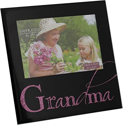 "Impressions Grandma 5"" X 3.5"" Black Glass Photo Frame By Juliana Freestanding Frames Lovely Gifts"