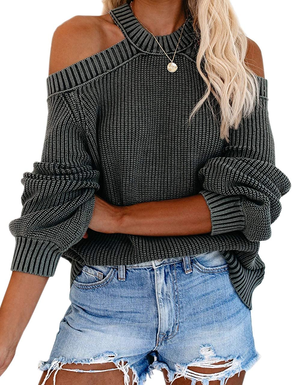 Womens Off Shoulder Sweaters Halter Cutout Back Loose Puff Long Sleeve Knit Pullover Jumper Tops