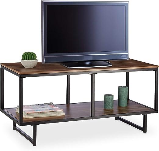 relaxdays Mueble TV con Acabado Efecto Madera, DM con Revestimiento de Melamina, 110 x 50 x 45 cm, Marrón: Amazon.es: Hogar