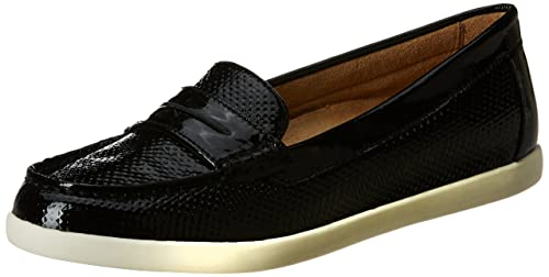 Gwen Black Leather Loafers-6 UK