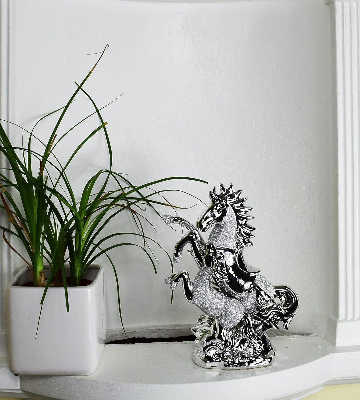 Italiano Cromado caballo con potro decoración para el hogar adorno 25cm alto Gift- plata