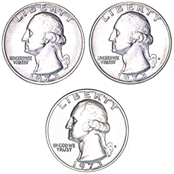 Amazon com: 1973 P D S Washington Quarter Year Set BU & Gem Proof 3