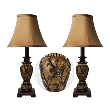 Set of 2 - 19 H Carved Traditional Accent Table Lamp Bedside Lamps Set (Dark Goldenrod)