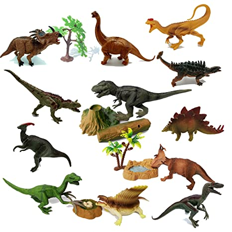 "Joyin Toy 18 Pieces 6/"" to 9/"" Educational Realistic Dinosaur Figures with Movable"