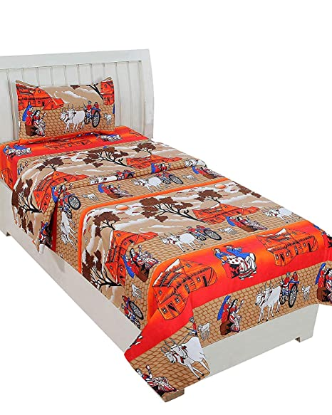 new arrival 0965a ff54f Sky Tex Brown Color Bullock Cart Printed Cotton 120 TC Single Bed Sheet  with 1 Pillow Cover