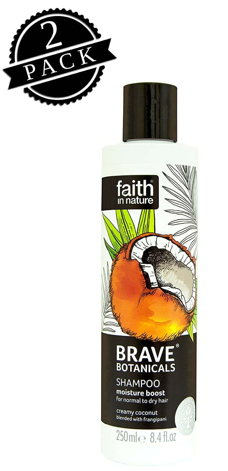Faith in Nature Brave Botanicals Shampoo, Coconut & Frangipani Moisture Boost (250 ml Bottle, 2-Pack); All-Natural Hydrating Care for Normal to Dry Hair w/Organic Coconut Oil and Exotic Frangipani