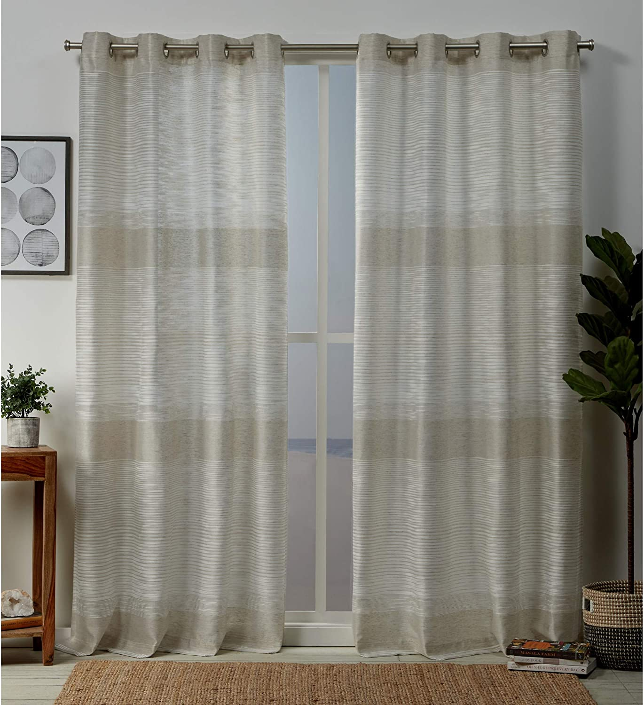 Exclusive Home Curtains Kadomo Striped Grommet Top Curtain Panel Pair, 54x84, Linen