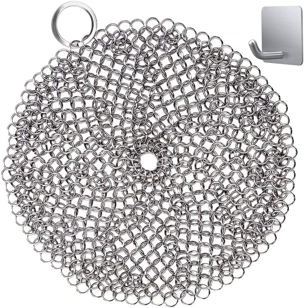 Chainmail Scrubber, Cast Iron Skillet Cleaner, KoHuiJoo 8