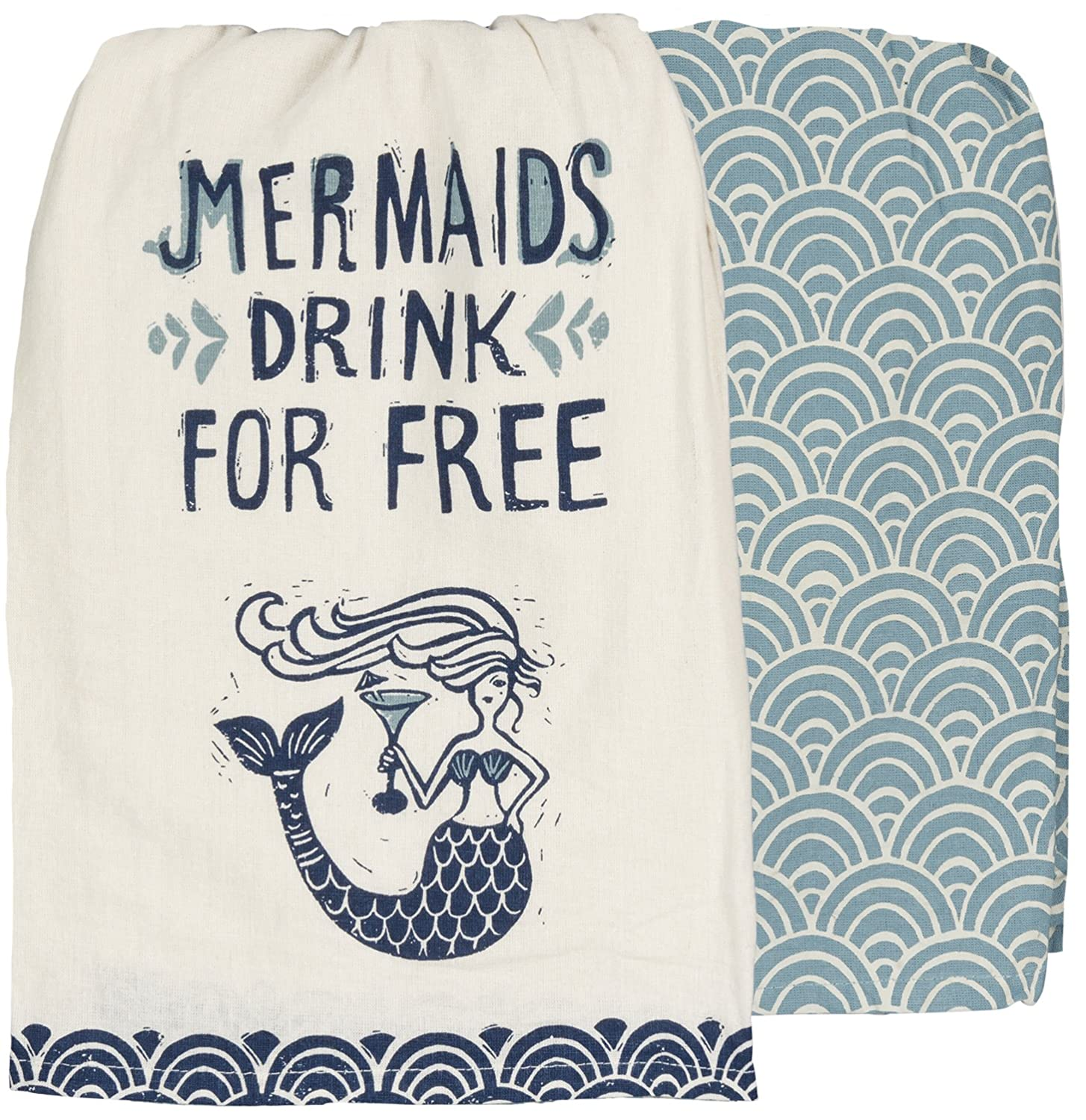 """Primitives by Kathy Mermaids Drink for Kitchen Towels Set of 2, Dish Towel with Mermaid Holding a Cocktail and a Coordinating Fish Scale Patterned Towel, 28"""" Square Dishtowels"""