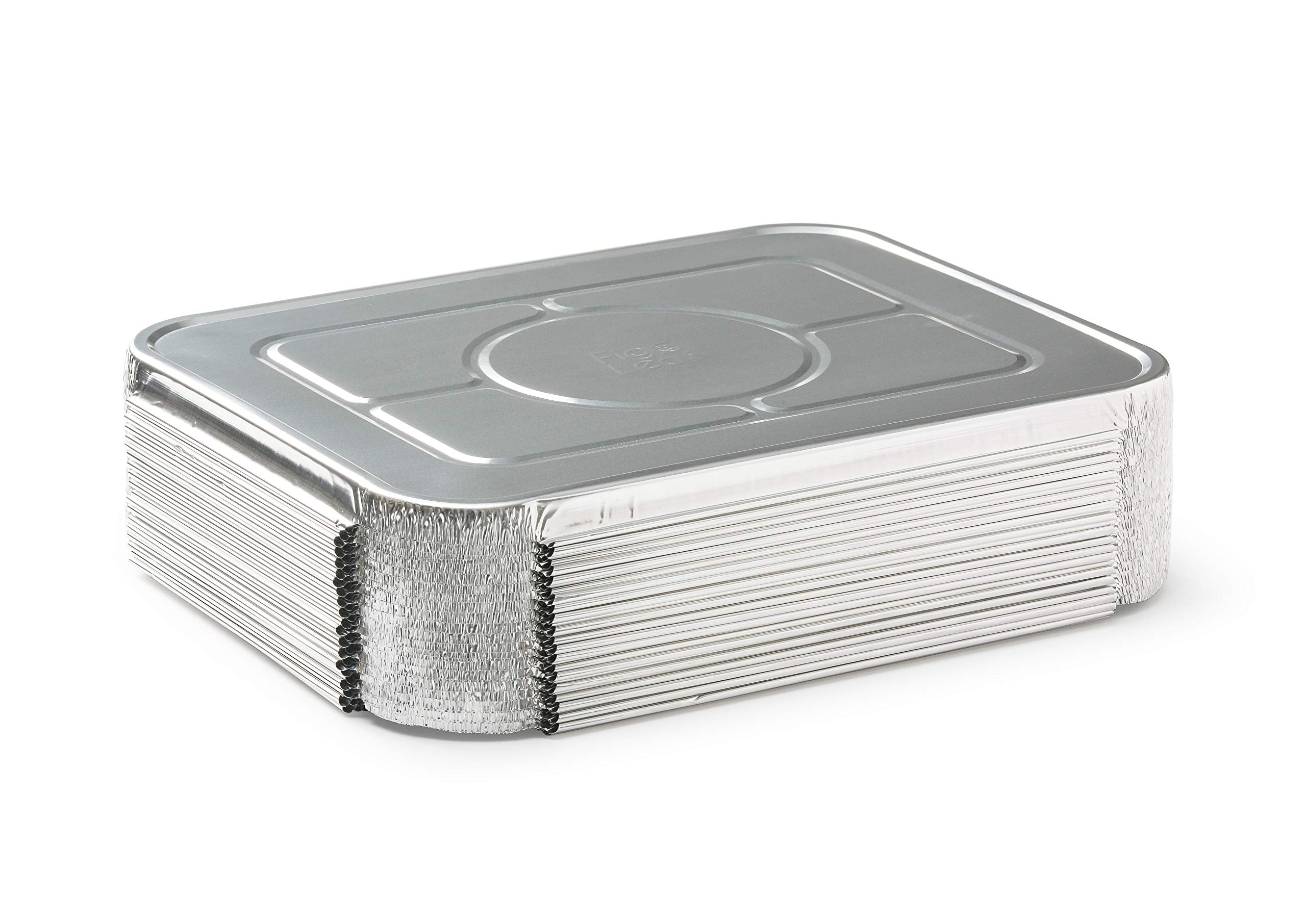 Fig & Leaf (120 Pack) Premium Lids for Chafing Pans 9'' x 13'' Half Deep Pans l Top Choice Disposable Aluminum Foil Tin Pan Lid Perfect for Roasting Potluck Catering Party BBQ Baking Cakes Pies