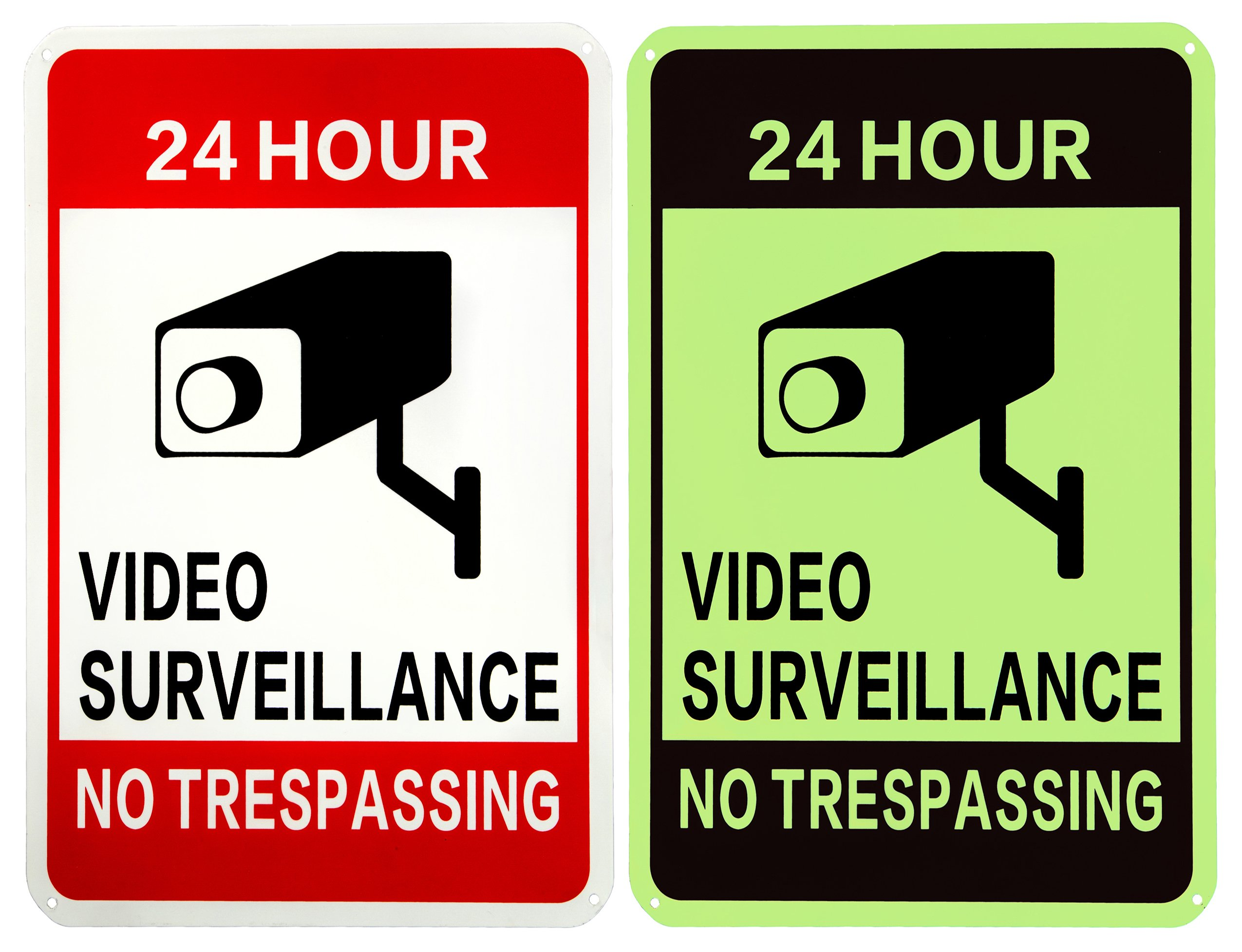 WISLIFE Video Surveillance Sign - ONE Piece, 40 Mil Rust-free Aluminum Sign, Home Business 24 Hours Security, No Trespassing Security Sign 10'' X 14'' (ONLY 1, Day & Night as Picture)